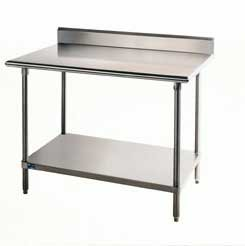Advance Tabco 14-Gauge Stainless Steel Top - w/ Backsplash & Undershelf - Model KSS-300