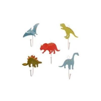 Childrens Set of 5 Boys Dinosaur Coat Hooks