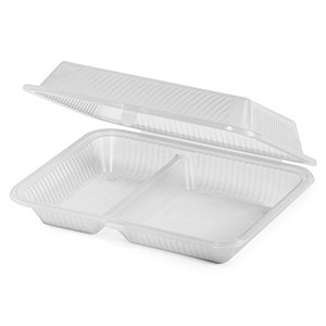 Eco Takeouts 10 Inch X 8 Inch 2 Compartment Food Container 3 Inch Deep Clear Polycarbonate 12 Ct