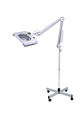 Square Magnifier 5x Diopter w/ Lamp on Stand, Mag Light