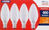 4 X 4 Pack STATUS 60W SES E14 Classic Clear Candle Light Bulbs, Small Screw, Incandescent Dimmable Lamps, Heavy Duty, 660 Lumen, Mains 240V from STATUS