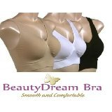 3 PACK, BLACK SEAMLESS BRAS - SIZE S, M, L, XL, XXL BRA - BEAUTY DREAM® (M