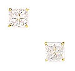 14k Yellow Gold 5mm Square Segmented CZ Screwback Earrings - JewelryWeb