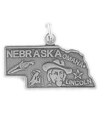 Sterling Silver Nebraska Charm