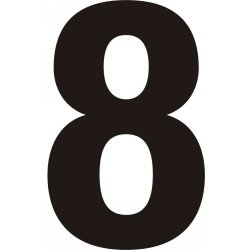 75mm Black Helvetica Bold Condensed Style Vinyl Number 8