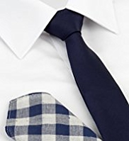 Limited Collection Textured Tie with Gingham Checked Handkerchief