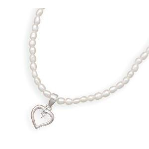 Childrens Teens White Pearl Cubic Zirconia Accent Heart Necklace Sterling Silver