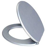Flip Metallic Silver Effect MDF Toilet Seat