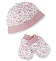 Pure Cotton Floral Hat & Mittens Set