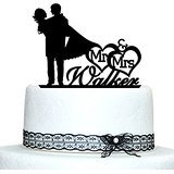 Custom Initiale Mr et Mrs pour gâteau Design avec n'importe quelle Date pour gâteau de mariage