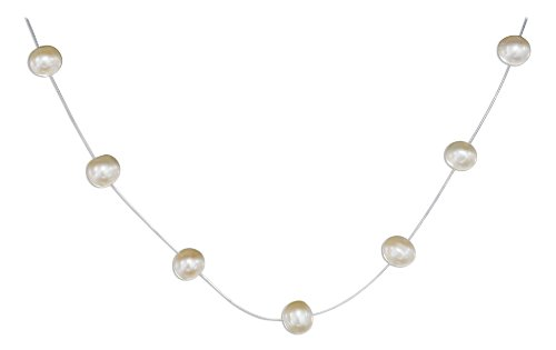 Sterling Silver 16 inch Invisible Wire with Fresh Water Pearls Necklace.