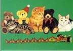 Cats Teddy Bears and Trains Christmas Gift Wrap