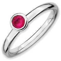 0.32ct Stackable Low 4mm Round Ruby Ring Band. Sizes 5-10 Available