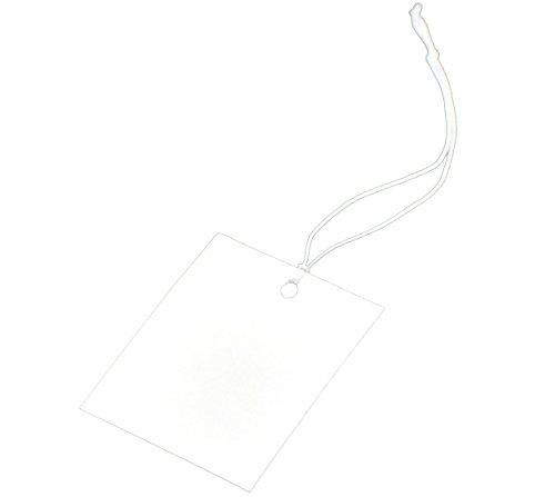 Housweety-200 étiquettes de Prix avec fil Papier Blanc 4cmx3cm -design personnalise-charme pour la mode
