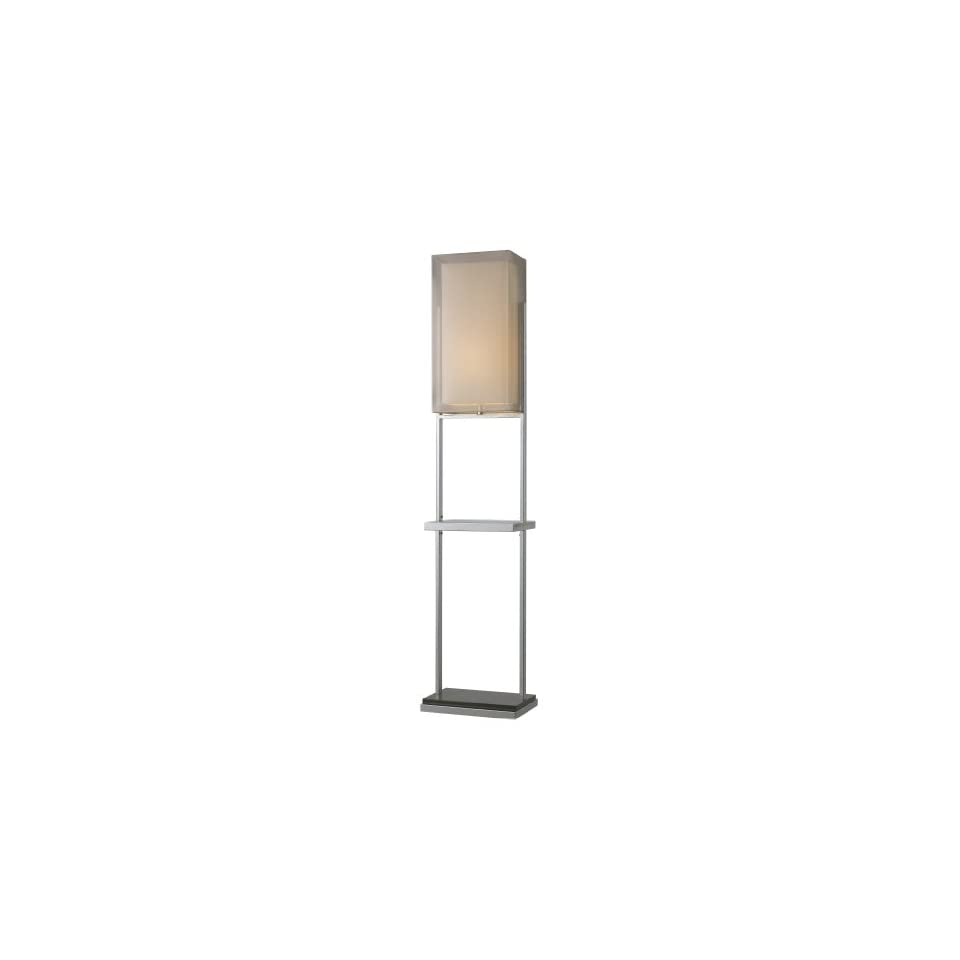 Dimond D1411 Exeter Floor Lamp, Chrome and Black Granite, Double Shade