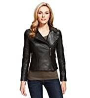 M&S Collection Leather Off Centre Zip Biker Jacket