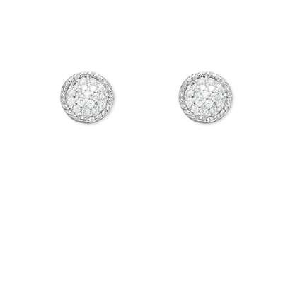 New Fine Jewelry 925 Sterling Silver Stud Earrings Round Shape Open Wire W/ Centured Clear CZ (WoW !With Purchase Over $50 Receive A Marcrame Bracelet Free)