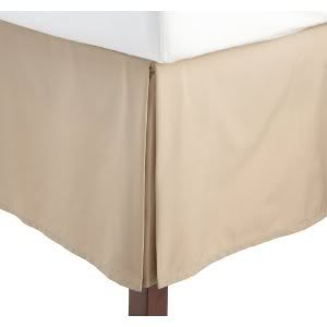 "Queen Size Solid Bed Skirt With 14"" Drop. Beige"