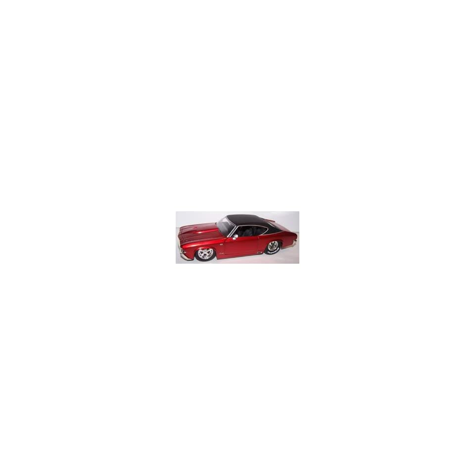 Jada Toys 1/24 Scale Diecast Big Time Muscle 1969 Chevy Chevelle Ss with Tub Rear Wheels in Color Red with Flat Black Top