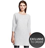 Autograph Pure Cashmere Self Striped Knitted Dress