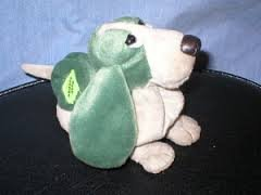 "6"" Hushpuppies Bean Bag Green & Beige Plush"
