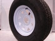 "13"" White Spoke Trailer Wheel with bias ST175/80D13 Tire Mounted (5x4.5) bolt circle"