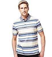 Blue Harbour Pure Cotton Multi-Striped Piqu Polo Shirt