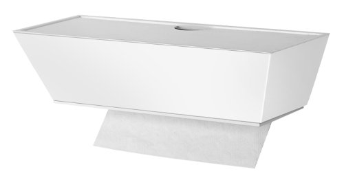 White Contemporary Healthy Shelf Top Load Wall Mount Individual Sheet Paper Towel Dispenser, Rubber Glove Dispenser