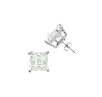 .925 Sterling Silver Stud in Prong Setting With White Cubic Zirconia Square Invisible Shape 6 mm
