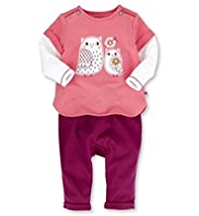 2 Piece Cotton Rich Owl Tunic & Leggings Outfit