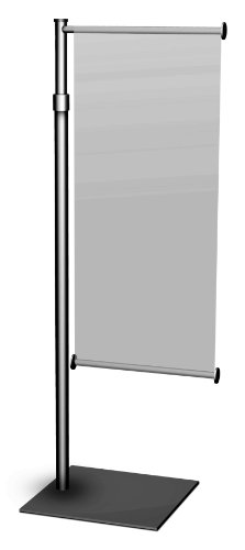 "Premium Aluminum Counter Top Mini Banner Stand Display With Adjustable Height. 9"" Wide Single Wing, Slide-In Design. Color: Black. Made In Usa."