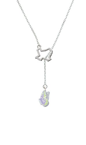 Translucent Purple & Lime Green Flying Butterfly Open Texas Lariat Necklace