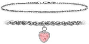 10K White Gold 10 Inch Wheat Anklet with Created Tourmaline Heart Charm
