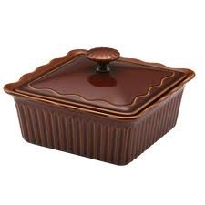 Paula Deen 2 Quart Stoneware Covered Square Casserole Brown