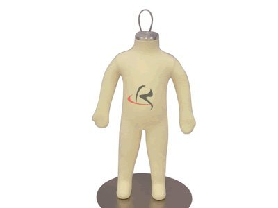(JF-CH03M) Child Body Form 3 month white jersey form cover, flexible arms, fingers & legs, metal base