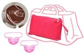 KIT PROMO GRANDE POCHETTE SAC A MAIN ROSE ACCROCHE SAC ANSE