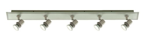 Top Hat Brushed Nickel Flush Bar Spot Withfrosted Glass Front Panel 5X50 Watt Halogen Lamps