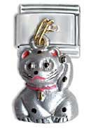 This Silver Dangle Lucky Cat Will Bring You Patience Italian Charm Bracelet Link