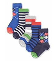 5 Pairs of Autograph Cotton Rich Argyle & Striped Socks