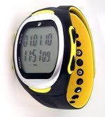 GSI Quality Waterproof Exercise Monitor Wrist Watch With Data Memory – Measures Distance, Time, Steps, Fat And Calories Burned – For Running, Jogging and Walking, Chronograph Stopwatch And Alarm Functions-Yellow