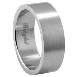 Plain Stainless Steel Wedding Ring - 7mm engravable - Size 7