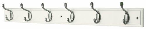 6 Heavy Duty Satin Nickel Hooks on White Wooden Board Coat Rack