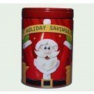 Tin box company - Holiday savings piggy bank Christmas round tin