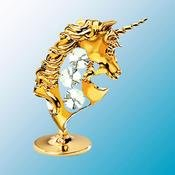 24K Gold Plated Unicorn Free Standing - Clear - Swarovski Crystal