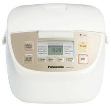 Panasonic 5-cup Automatic Rice Cooker Includes Advanced Fuzzy Logic Technology, Push Button Lid Release, Eight Pre-programed Cooking Options, 24-hour Preset Timer, 12-hour Keep-warm Function, Includes Rice Scoop, Measuring Cup, Steaming Basket and Detacha