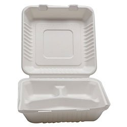 "IFN Green 29-2006 Fiber 3-C Bagasse Clamshell, 9"" Length x 9"" Width x 3"" Height (Case of 200)"