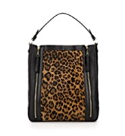 Autograph Leather Animal Print Zip Hobo Bag