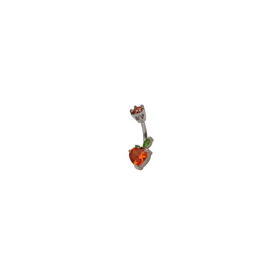 Jeweled Cherry Heart Solitaire Cute Belly Button Navel Ring 14 Gauge