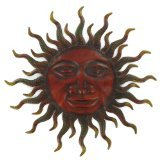 Large Metal Sun Face Sunburst Plaque Wall Decor