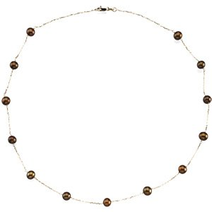 14k Fw Cult. Dyed Chocolate Pearl Station 5.5-6mm 18 In - JewelryWeb